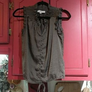 Loft Taupe Sleeveless Blouse